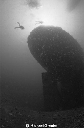 Two divers approach the stern of the sunken oil tanker &quot;A... by Michael Grebler 